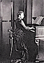 1881 Princess Beatrice playing the harmonium at Osborne during the winter
