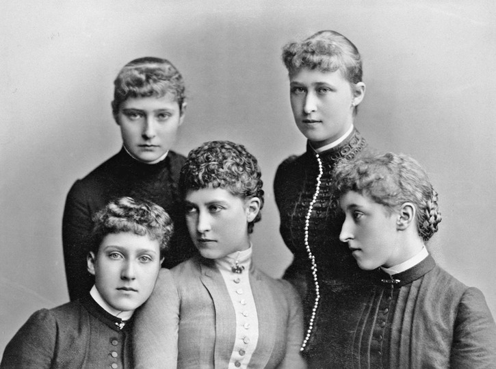 1885 Left to right - Princess Alix of Hesse; Princess Irene of Hesse (back row); Princess Marie Louise of Schleswig-Holstein; Charlotte, Princess Bernhard of Saxe-Meiningen; Princess Helena Victoria of Schleswig-Holstein Wm