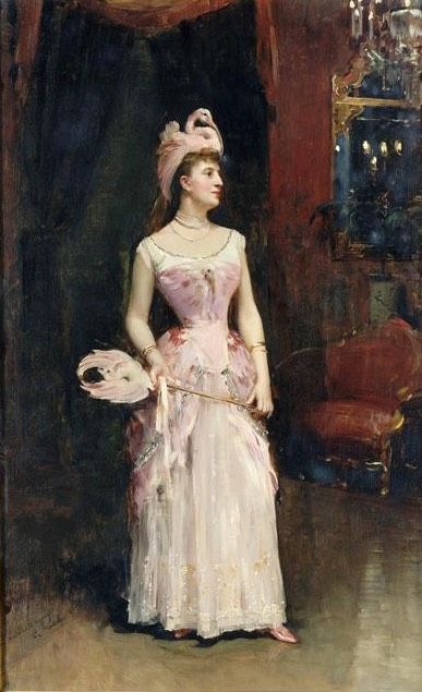 1885 Marquise d'Hervey Saint-Denys standing by Raimundo Madrazo y Garreta (Musée d'Orsay - Paris, France) UPGRADE From experimentsinelegance.blogspot.com:2011:11:1885-flamingo-fancy-dress.html