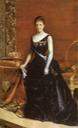1886 or 1887 María Cristina wearing second bustle period dress by ? (location unknown to gogm)