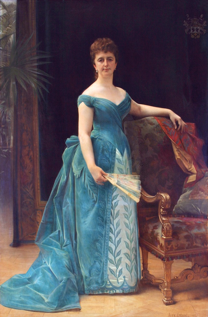 1887 Louise Catharina Antoinetta van Loon-Borski (1832-1893), member of the rich Dutch family Borski, married Hendrik van Loon in 1853 by Alexandre Cabanel (location ?) From wbooks.com/winkel/diversen/mode/mode-bij-van-loon/.jpg