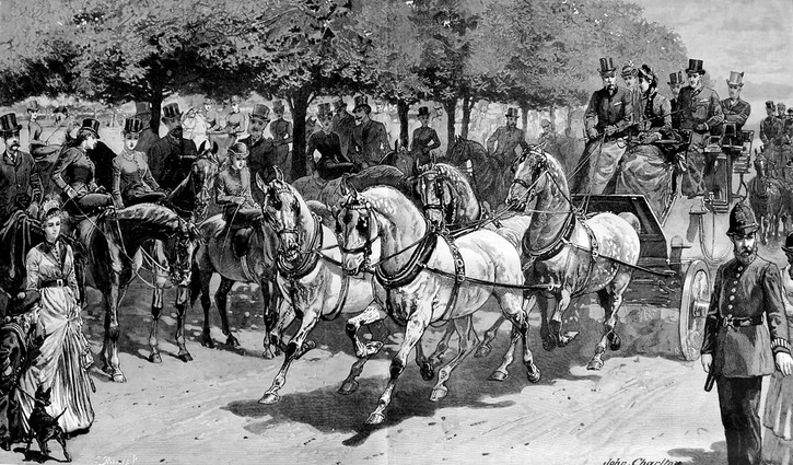 1887 Members of the Four in Hand Club on parade in Hyde Park, published in The Graphic