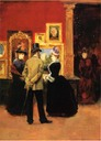 1888(?) Count Ludovic Lepic and Ladies Viewing an Exhibition by Julius LeBlanc Stewart (location unknown to gogm)