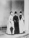 1889 (June) Princess Victoria Mary of Teck (middle) with Princess Hélène (l.) and Princess Marguerite d'Orleans (r.), Sheen House by Robert, duc de Chartres From Royal Collection via pinterest.com/SloaneSW7/queen-mary-hsh-the-princess-may-of-teck/.jpg