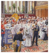 1893 Mary and George wedding painting by Amadee Forestier (Royal Collection)