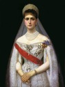 1894 Alexandra Feodorovna of Russia, born Princess Alix of Hesse and by Rhine in Russian court gown by Ilya Galkin (location unknown to gogm)