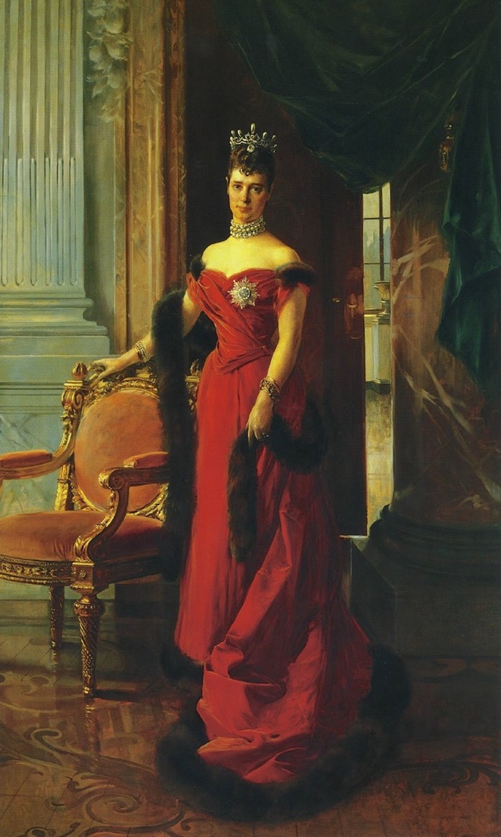 1894 Maria Feodorovna wearing a fur-trimmed red dress by François Flameng (State Hermitage Museum - St. Petersburg, Leningrad Oblast, Russia) From pinterest.com:source:historyofromanovs.tumblr.com X 2 removed larger spots