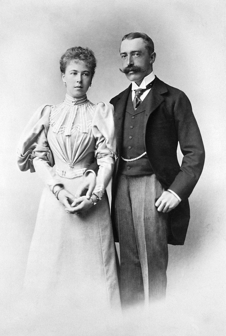1896 (April) Princess Alexandra and her fiancé, Prince Ernest by Eduard Uhlenhuth (Royal Collection) Wm