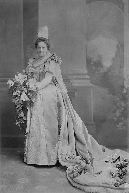 1896 Emily Warren Roebling, who had a significant role in the building of the Brooklyn Bridge, wore this gown for her formal presentation to Queen Victoria From pinterest.com:victoriankat:court-dress