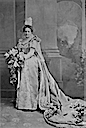 1896 Emily Warren Roebling, who had a significant role in the building of the Brooklyn Bridge, wore this gown for her formal presentation to Queen Victoria