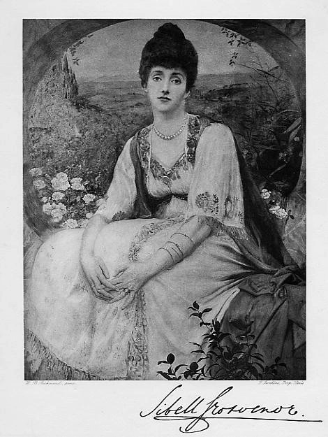 1897 Sibell, Countess Grosvenor photogravure by F.Jenkins of Paris after a painting by W.B.Richmond, published in The Book of Beauty detint
