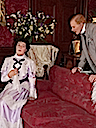 1898 Lady Louisa, Duchess of Devonshire listens to George Cornwallis West in the Music Room of Warwick Castle