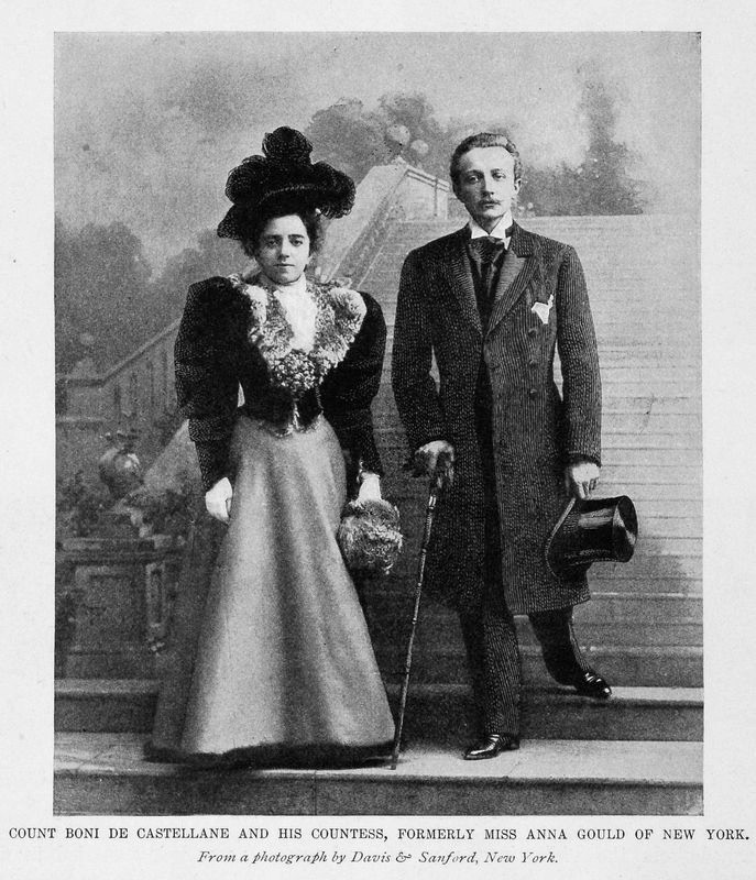 1899 Print Count Boni De Castellane Countess Wife Anna Gould New York Portrait detint