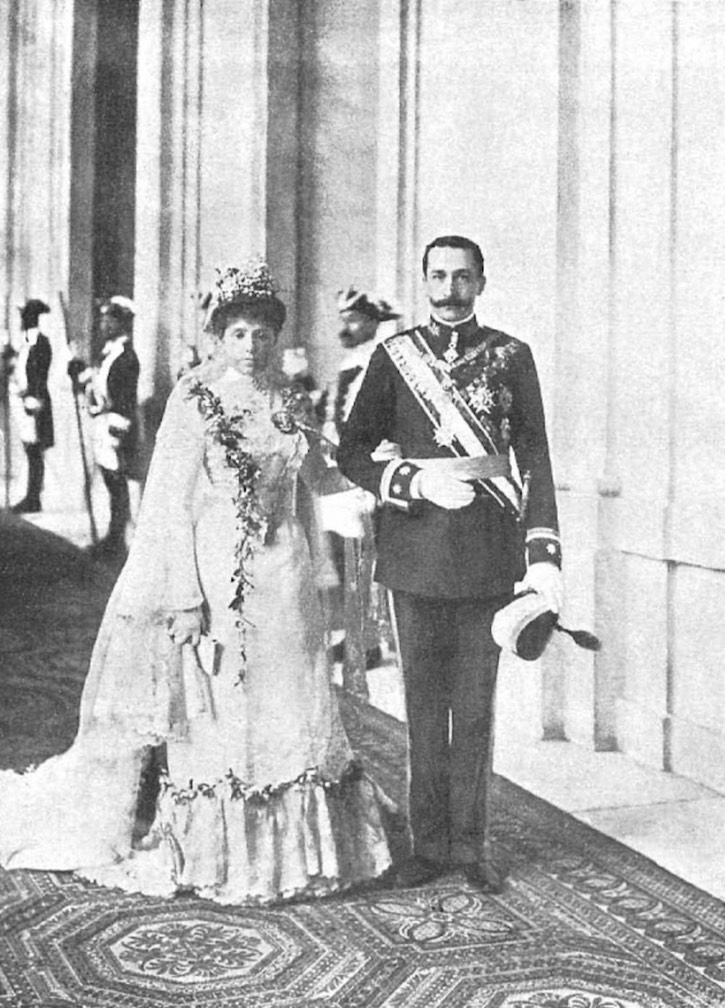 1901 (14 February) Prince Carlos of Bourbon Two Sicilies Princess Mercedes Asturias Spain at the end of their wedding ceremony by Christian Franzen Wm despot X 1.5