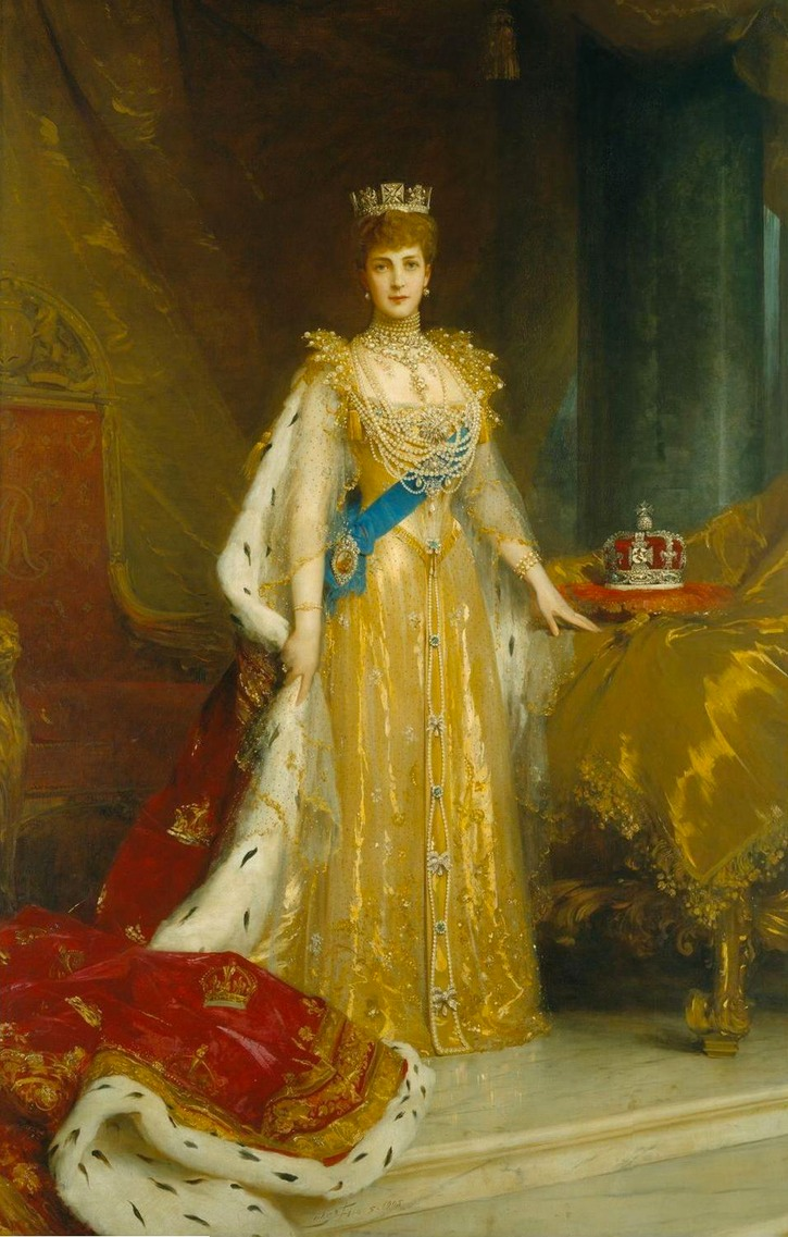 1902 Alexandra in coronation dress by ? (location unknown to gogm)