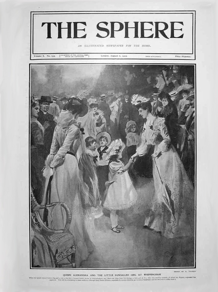 1902 Alexandra meets little girl The Sphere detint