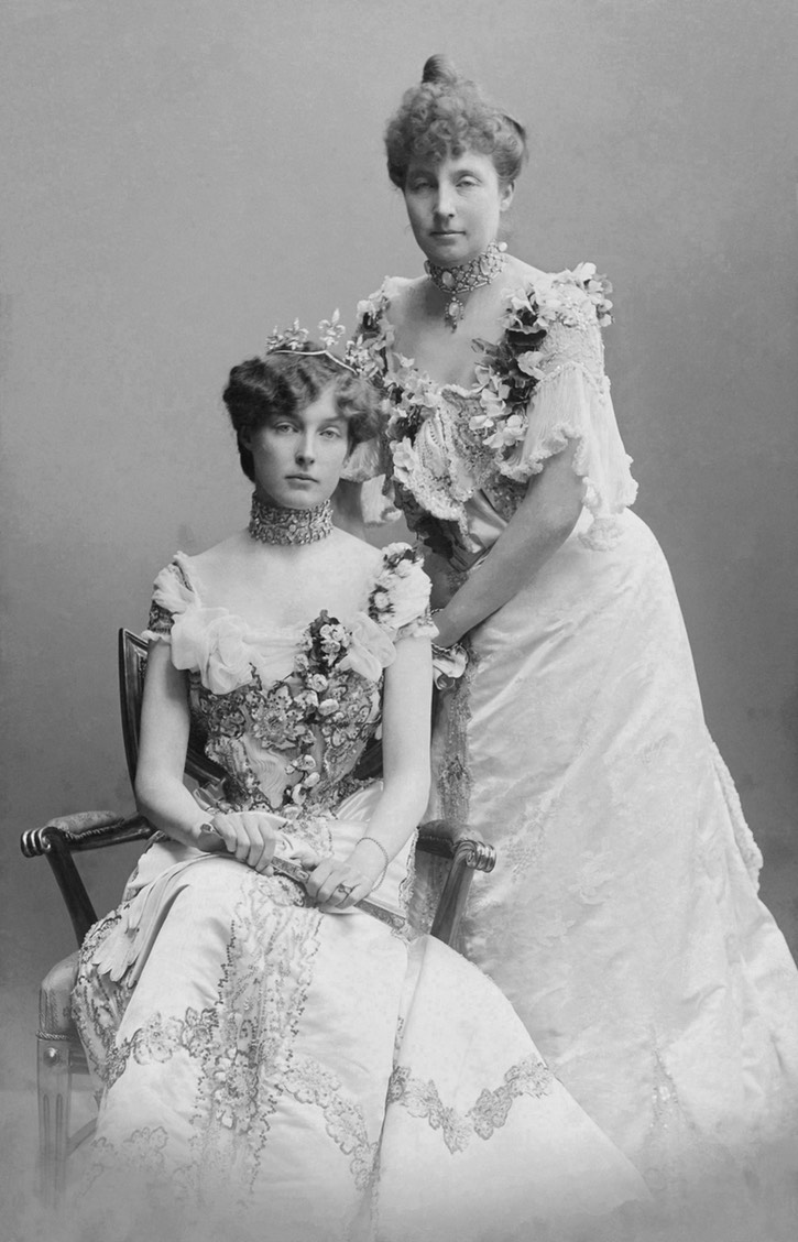 1902 Princesses Isabelle of Orléans (1878–1961) and her cousin Marie of Orléans (1865–1909), Princess Waldemar of Denmark by Carl Sonne UPGRADE Wm detint