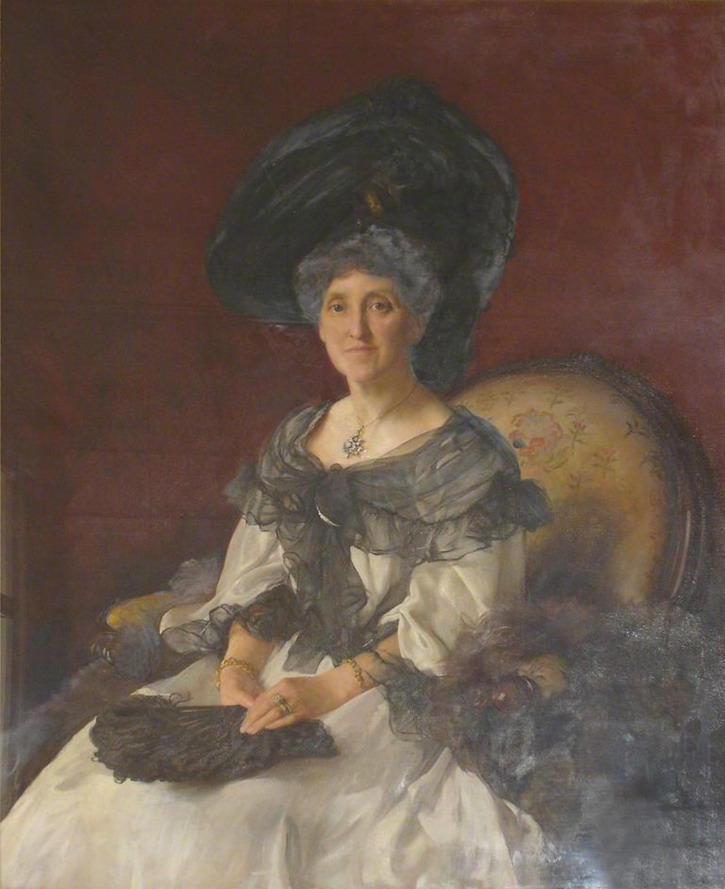 1904 Lady Gelder by John Henry Frederick Bacon (Hull Guildhall - Hull UK) bbc.co linear flaws in background, hat, and dress removed and flaws in lower right darkened