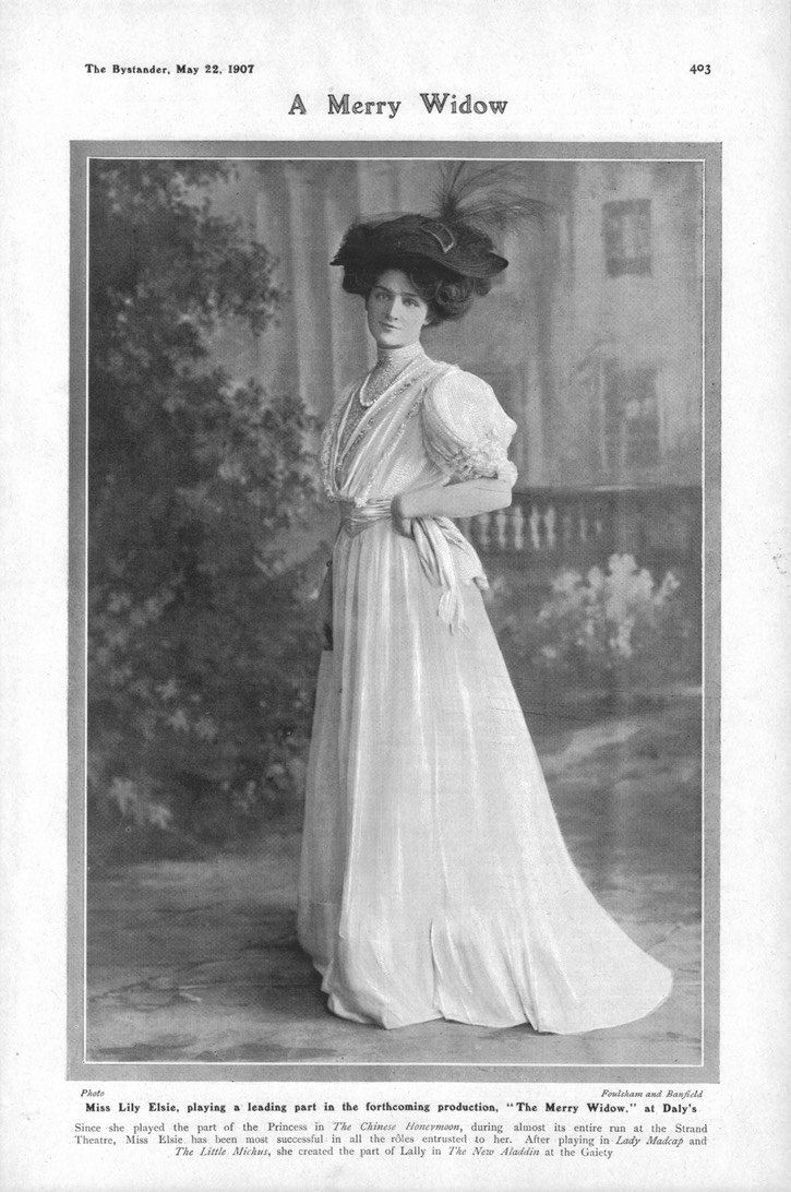 1907 Lily Elsie photo by Foulsham and Banfield in the May 22 issue of The Bystander From Prometheus2011's photostream on flickr detint