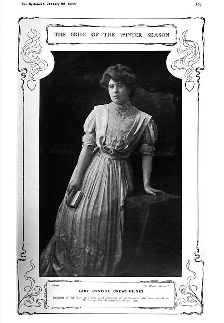 1908 Lady Cynthia Crewe Milnes from The Bystander of 22 January