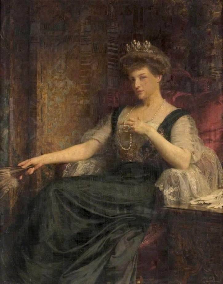 1910 Charlotte Mary Emily Nugent-Dunbar, wife of James Cleland Burns, third Baron Inverclyde by Sir Frank Dicksee (Glasgow Museums) From www.pinterest.com:8andyyang8:sir-frank-dicksee-%2B-artists-rifles