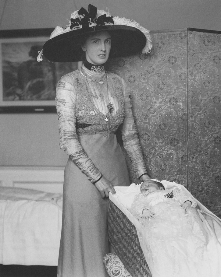 1911 Lady Brooke at her child's christening From www.pinterest.com/katmaxoz/20th-century-fashion-in-photos detint
