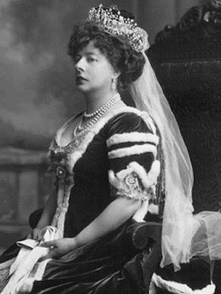 1911 Lady Poltimore wearing the Poltimore tiara by the Lafayette Photographic Studio From pinterest.com:sapth:wearing-tiaras-british