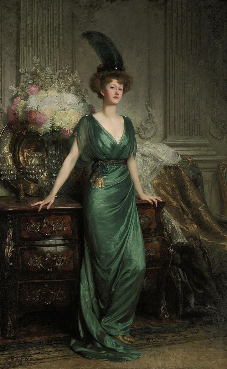 1912 Mrs. Ernest Guinness by Sir Francis Bernard Dicksee (auctioned by Christie's) From www.pinterest.com:nouvellegiselle:vintage-inspiration slightly cropped