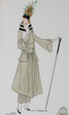 1915-1920 Lucile fashion sketch maxi length skirt and striped collar coat From liveauctioneers.com/item/25552149_lucile-studio-fashion-sketches-circa-1915-20