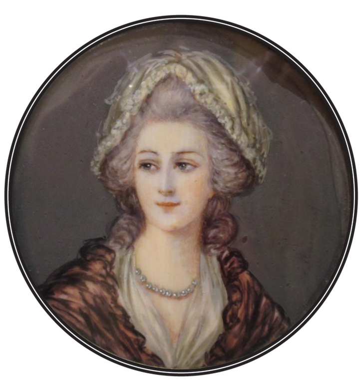 19th century (early) Charlotte d'Angleterre d'après une peinture de Thomas Gainsborough probably by Reinhard (auctioned by Pronatic) From picclick.fr-Peinture-Miniature-XIXème-Portrait-Queen-Charlotte-of-Mecklembourg-Strelitz-322036313985