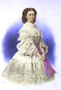 1860 Colorized print of Empress Elizabeth wearing a flounced dress