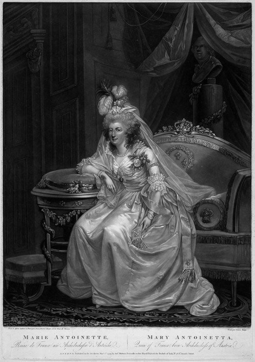 Marie-Antoinette wearing a sheath dress