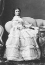 1860 Empress Elisabeth seated in her flounced dress