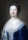 Agnes Elizabeth, Countess Wandesforde, wife of Earl Wandesford, half length, wearing a blue lace trimmed dress with pearls in her hair by Sir Francis Coates (auctioned by Bonhams) UPGRADE