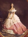 Alexandra Iosifovna wearing a pink late crinoline era dress