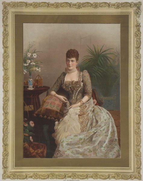 Color portrait of Princess Alexandra wearing brocade dress by ? (location unknown to gogm)