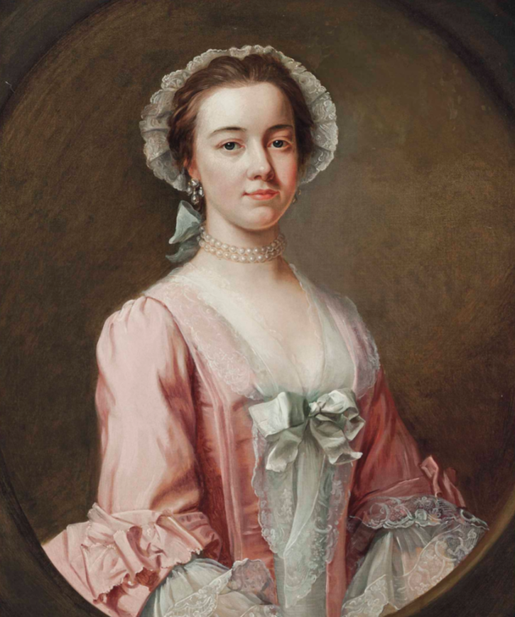Ann Burney, half-length, in a pink dress with a lace bonnet and sleeves, with pearl earrings and a choker, in feigned oval attributed to Rev. James Wills (auctioned by Christie's) From Christie's