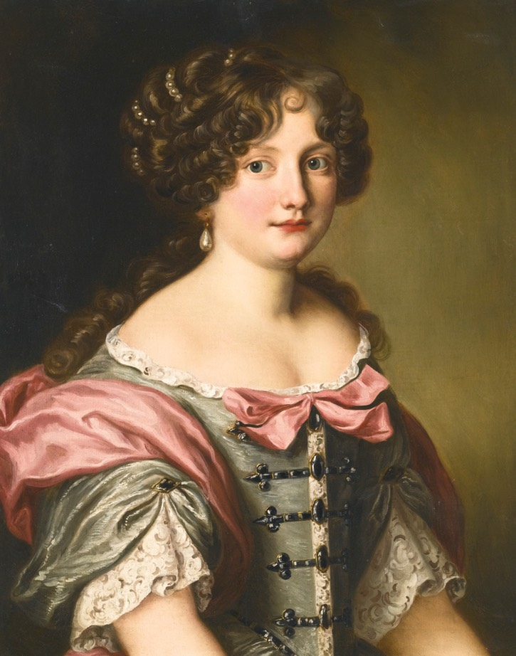 Anna Maria Carpegna Naro (1651-1731) half length, wearing a dress with fine lace and pink bows by Jacob Ferdinand Voet (auctioned by Sotheby's) From pinterest.com/mimifossard/jacob-ferdinand-voet-just-couldn-t-get-enough-of-t/.jpg