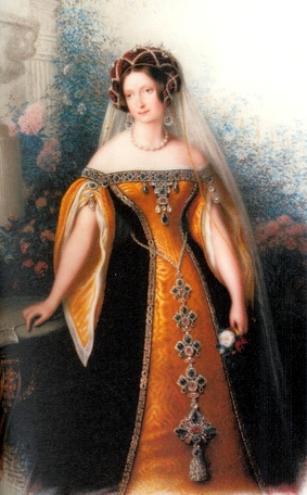 Anna Pavlovna wearing Russian court dress