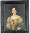 Anne-Marie d'Orleans, Queen of Sardinia in a grey dress embroidered with gold thread and a blue shawl embroidered with fleur-de-lys by Jacob Ferdinand Voet
