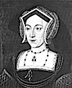 Anne Boleyn black and white wearing an English hood