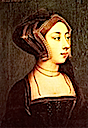 Anne Boleyn wearing an English hood by ? after style of Holbein (Hever Castle, Kent)