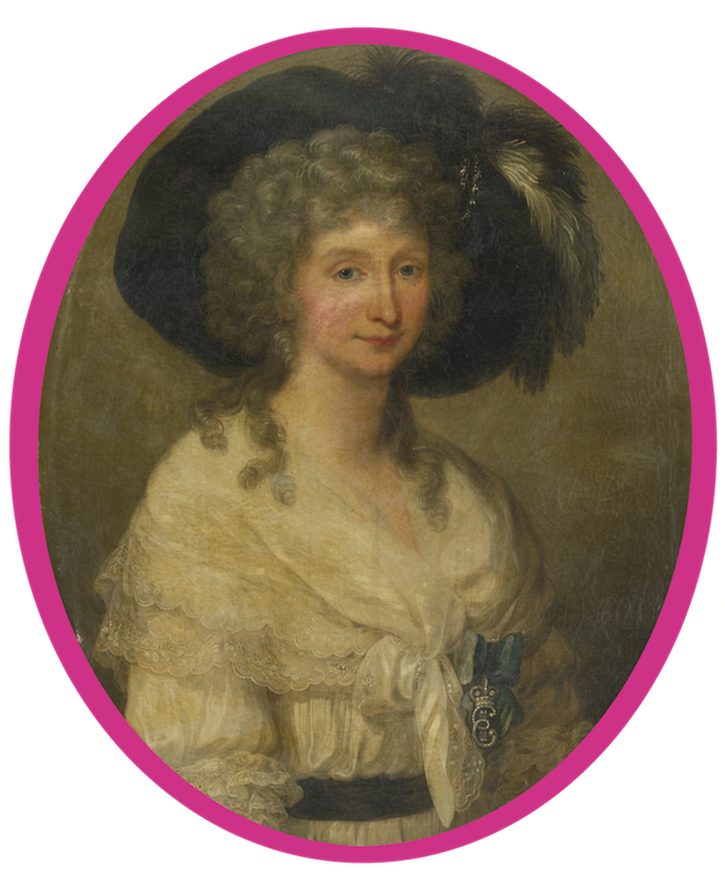 Baroness von Bauer, half-length wearing a white, lace dress by Angelica Kauffman (auctioned by Sotheby's) Wm