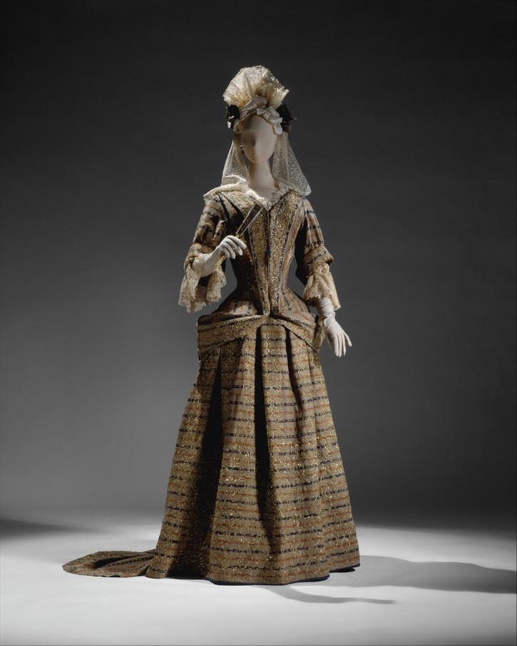 British mantua of taupe wool with stripes of dull orange and blue, embroidered in silver-gilt thread (Metropolitan Museum of Art - New York City, New York, USA) From the museum's Web site via pinterest.com:mwojdak:17th-century-fashion: