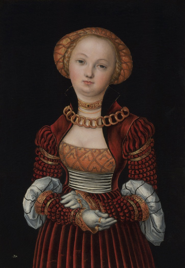 ca. 1525 Woman, also called Magdalena von Sachsen by Lucas Cranach the Elder (National Gallery - London, UK) From Google Art Project via Wikimedia despot decrack