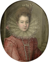 Margaret of Savoy in red costume with a white lace ruff and a pearl headdress by follower of Scipione Pulzone (Il Gaetano) (auctioned by Bonhams)