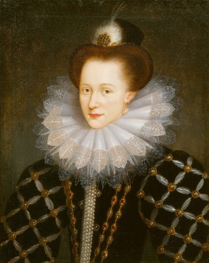 ca. 1593 Countess Emilia of Nassau by Daniël van den Queborn (Collection Historical Society of Orange-Nassau - Den Haag, Holland) Wm