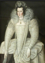 ca. 1595-1600 Lady, said to be Elizabeth Throckmorton Queen Elizabeth's Maid of Honour and Wife of Sir Walter Raleigh, by Robert Peake (Maldon Moot Hall - Maldon, Essex, UK) From artuk.org cropped