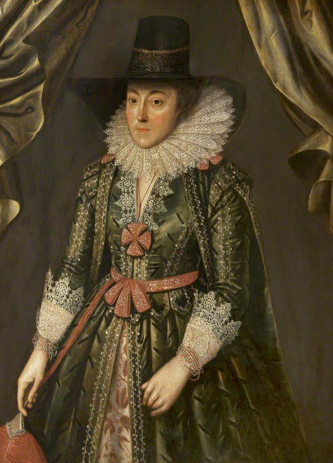 ca. 1610 Dorothy, Lady Done, née Wilbraham by circle of Marcus Gheeraerts the Younger (Grosvenor Museum - Chester, Cheshire, UK) bbc.co