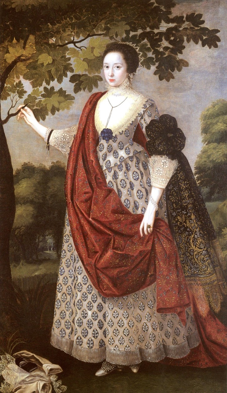 ca. 1617 Cecilia Nevill (or Cecily Neville), wife of Fitzwilliam Coningsby of Hampton Court, Herefordshire by Robert Peake (location ?) From pinterest.com/michelleckband/1600-1629-fashion/?lp=true